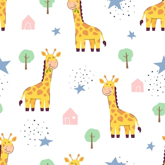 Modèle sans couture girafe mignonne