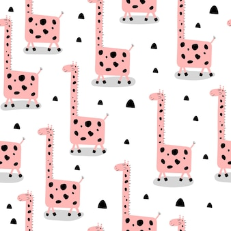 Modèle sans couture avec des girafes de dessin animé