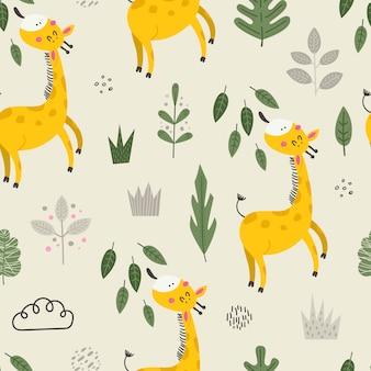 Modèle sans couture avec des girafes mignonnes