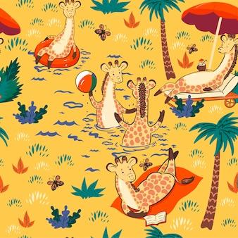 Modèle sans couture avec des girafes en vacances.