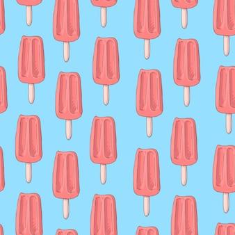 Modèle sans couture avec glace à la popsicle