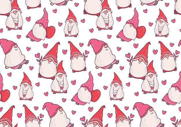 Modèle sans couture de gnome saint valentin