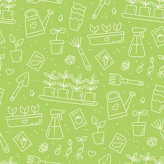 Modèle sans couture avec graines et semis. germination des pousses. outils et pots pour la plantation. illustration vectorielle dessinés à la main sur fond blanc