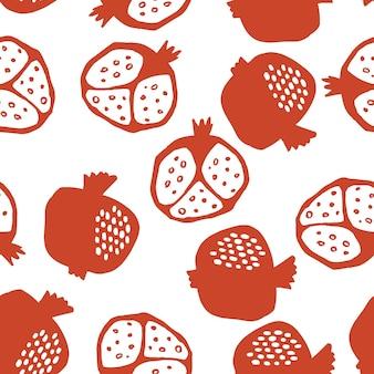 Modèle sans couture de grenade dans les couleurs rouges et blanches. illustration vectorielle florale de doodle abstrait et de fruits scandinaves. motif arménien grenat. l'élégant le modèle pour les impressions de mode.