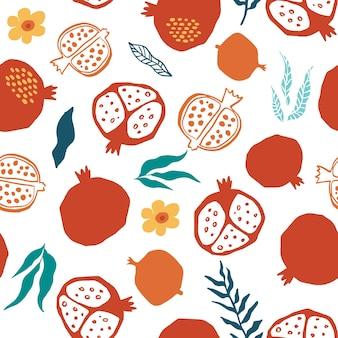 Modèle sans couture de grenade avec des feuilles, fleur. illustration vectorielle florale de doodle abstrait et de fruits scandinaves. motif arménien grenat. l'élégant le modèle pour les impressions de mode.