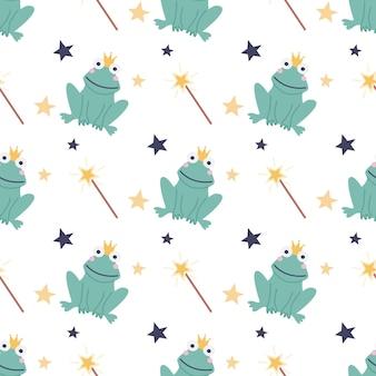 Modèle sans couture d'une grenouille drôle avec une baguette magique et des étoiles sur fond blanc
