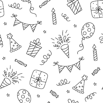 Modèle sans couture avec des griffonnages de joyeux anniversaire. croquis de décoration de fête, coffret cadeau et ballons. enfants dessinant. illustration vectorielle dessinés à la main sur fond blanc.