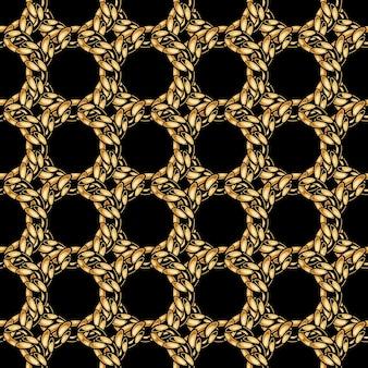 Modèle sans couture de grille de chaîne en or élégant dans le style