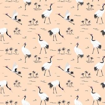 Modèle sans couture avec grues japonaises, fond d'oiseau rétro, impression de mode, ensemble de décoration japonaise d'anniversaire. illustration vectorielle