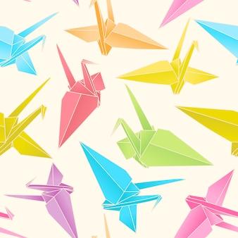 Modèle sans couture de grues en papier origami
