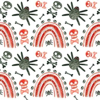 Modèle sans couture d'halloween avec des araignées de crânes rouges et des arcs-en-ciel papier de scrapbooking numérique effrayant