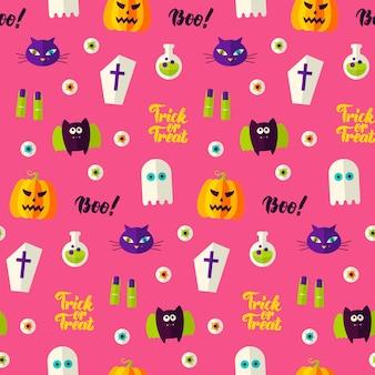 Modèle sans couture halloween boo. illustration vectorielle de fond de vacances. la charité s'il-vous-plaît.