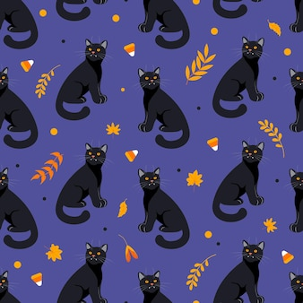 Modèle sans couture halloween chat noir, feuilles d'automne, herbes et bonbons dans des tons orange fond violet foncé. style de bande dessinée illustration lumineuse. pour papier peint, impression sur tissu, emballage, arrière-plan.
