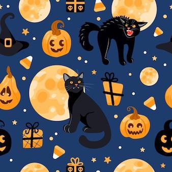 Modèle sans couture halloween chat noir, lune, chapeau de sorcière, lanterne jack, bonbons. sur fond bleu. illustration lumineuse en style cartoon. pour papier peint, impression sur tissu, emballage, arrière-plan.