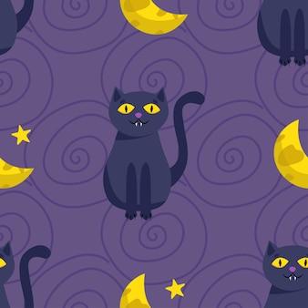 Modèle sans couture d'halloween. chat noir mignon et la lune. illustration vectorielle