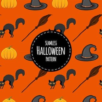 Modèle sans couture d'halloween avec des chats. style de bande dessinée. illustration vectorielle.