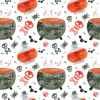 Modèle sans couture d'halloween avec chaudron de crânes rouges et potions de sorcière papier numérique effrayant