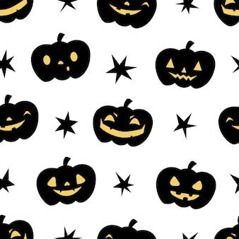 Modèle sans couture d'halloween citrouille jack o lantern