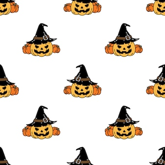 Modèle Sans Couture Halloween Citrouille Vecteur Premium