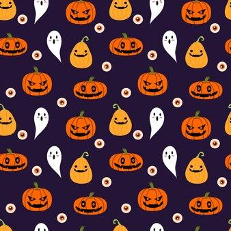 Modèle sans couture halloween, citrouilles, fantôme et globe oculaire.