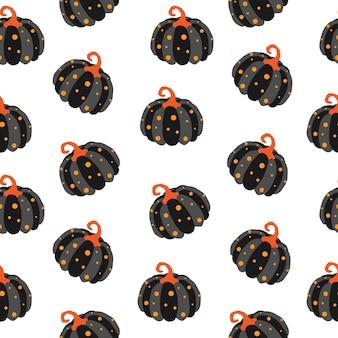 Modèle sans couture d'halloween avec des citrouilles mignonnes. fond de vecteur d'halloween. eps 10.