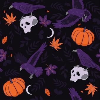 Modèle sans couture d'halloween avec des corbeaux, des citrouilles et des crânes. graphiques vectoriels.
