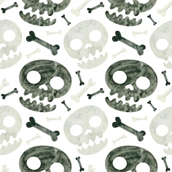 Modèle sans couture d'halloween avec des crânes et des os papier de scrapbooking numérique spooky