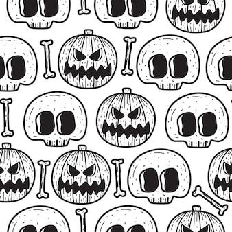 Modèle sans couture halloween doodle