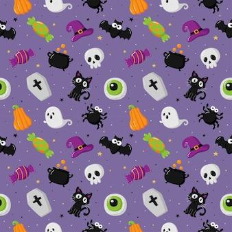 Modèle sans couture d'halloween avec effrayant drôle sur fond violet
