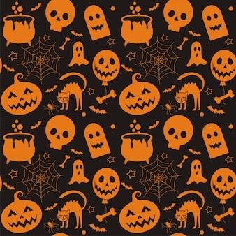 Modèle sans couture de halloween et élément