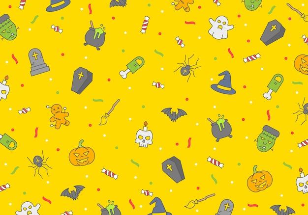 Modèle sans couture d'halloween, éléments d'horreur