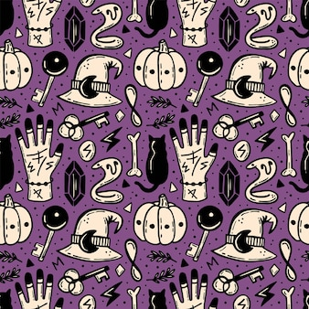 Modèle sans couture d'halloween. ésotérique, surnaturel, paranormal.