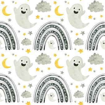 Modèle sans couture d'halloween avec des fantômes mignons et des arcs-en-ciel papier de scrapbooking numérique effrayant