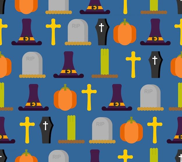 Modèle sans couture d'halloween. fond pour des vacances terribles. chapeau de sorcière et pierre tombale.