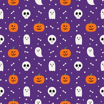 Modèle sans couture halloween heureux sur fond violet.