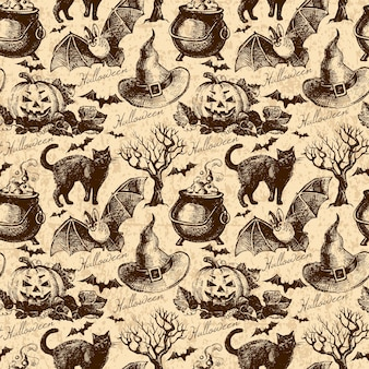 Modèle sans couture d'halloween. illustration dessinée à la main