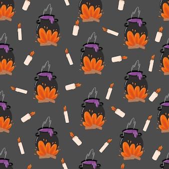 Modèle sans couture d'halloween. illustration vectorielle dessinée à la main avec un chapeau melon de sorcière mystique avec potion et bougies