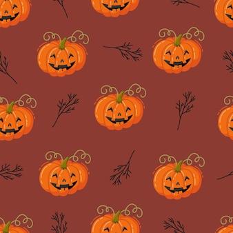 Modèle sans couture d'halloween. illustration vectorielle dessinés à la main avec des citrouilles
