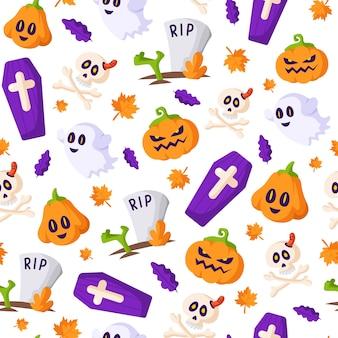 Modèle sans couture d'halloween - lanterne de citrouille, fantôme, crâne et os, cercueil, tombe