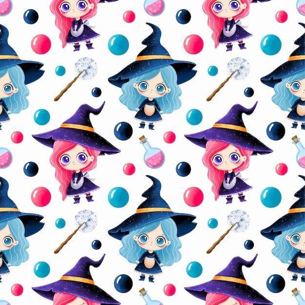 Modèle sans couture halloween magique dessin animé mignon. mignonnes petites sorcières, potion et baguette magique.
