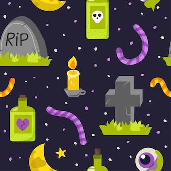 Modèle sans couture d'halloween. pierres tombales et vers mignons. illustration vectorielle