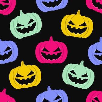 Modèle sans couture de haloween. fond transparent avec des citrouilles. illustration vectorielle