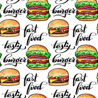 Modèle sans couture avec des hamburgers juteux