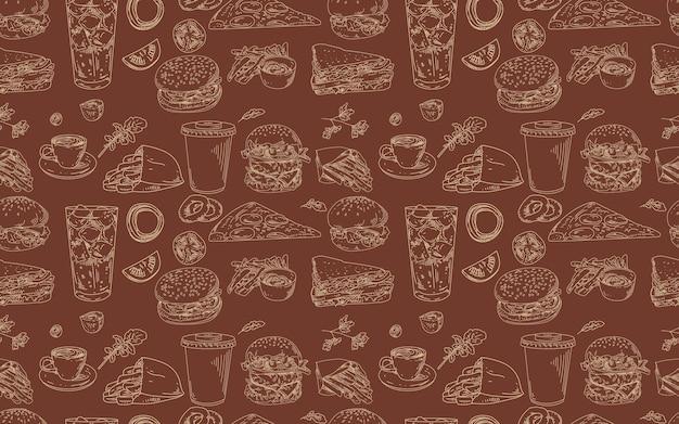 Modèle sans couture avec des hamburgers et de la restauration rapide