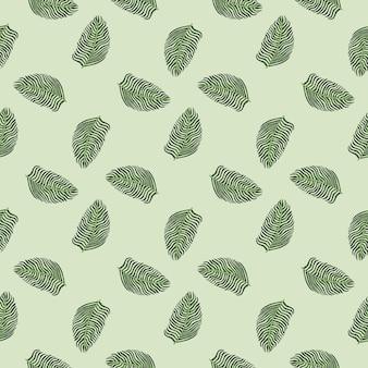 Modèle sans couture d'hawaï avec ornement de feuille de fougère de style géométrique vert pâle. fond gris pastel.