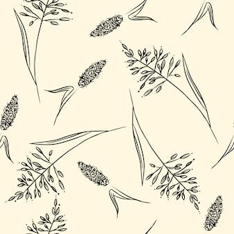 Modèle sans couture d'herbes de champ