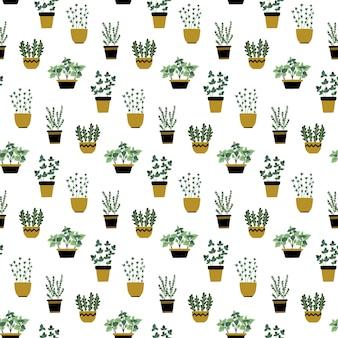 Modèle sans couture avec des herbes culinaires dans des pots.