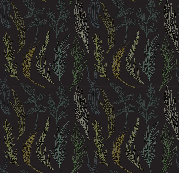 Modèle sans couture avec des herbes dessinées à la main
