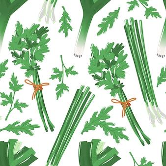 Modèle sans couture avec des herbes épicées