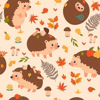 Modèle sans couture avec hérissons d'automne